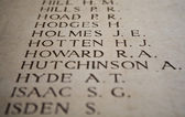 Names on the Menin Gate in Ypres, Belgium — Stock Photo