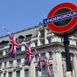 Stock Photo: London Underground and Union Flags