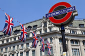London Underground and Union Flags — Stock Photo