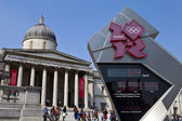 National Gallery and Olympic Countdown Clock in London — Foto de Stock