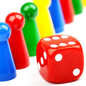 Board Game Pieces and Dice — Stock Photo