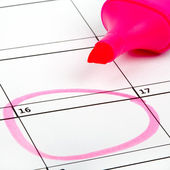 Date Highlighted on a Calendar — Stock Photo