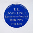 T. E. Lawrence Blue Plaque in London - Stock Photo