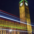 Light Trails Passing the Houses of Parliament — Stock Photo