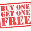 BUY ONE GET ONE FREE Rubber Stamp - Stock Photo