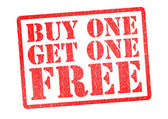 BUY ONE GET ONE FREE Rubber Stamp — Stockfoto