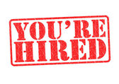 YOU'RE HIRED Rubber Stamp — Foto Stock