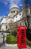 St. Paul's Cathedral and Red Telephone Box in London — Photo