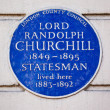 Stock Photo: Lord Randolph Churchill Blue Plaque in London