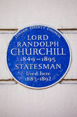 Lord Randolph Churchill Blue Plaque in London — Stock Photo