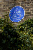 Sir James Barrie Blue Plaque in London — Stock Photo