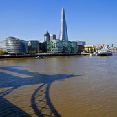 City Hall, the Shard and Tower Bridge Shadow in the River Thames — Stock Photo