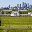 Stock Photo: View of Docklands and Royal Naval College in London.