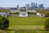 View of Docklands and Royal Naval College in London. — Stock Photo