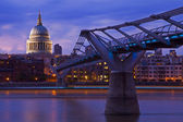 St. Paul's Cathedral and the Millennium Bridge — Stock Photo