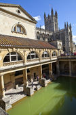 Roman Baths and Bath Abbey in Somerset — Stock Photo