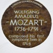 Wolfgang Amadeus Mozart Plaque in London — Stock Photo