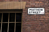 Mathew Street Sign in Liverpool — Foto Stock