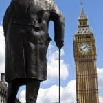 Sir Winston Churchill Statue and Big Ben in London — Stock Photo #46818051