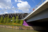 London Olympic Stadium and the River Lea — Stock Photo