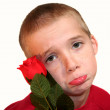Sad Boy With Red Rose — Stock Photo