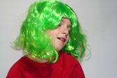 Dreamy Boy in Green Wig — Stock Photo