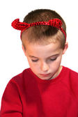 Little Devil Boy With Bowed Head — Stock Photo