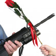 Royalty-Free Stock Photo: Adult Rifle Child Rose