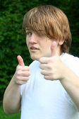 Teen Boy Double Thumbs Up — Stock Photo