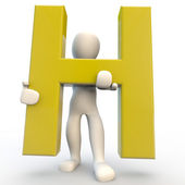 3D Human character holding yellow letter H — Stock Photo