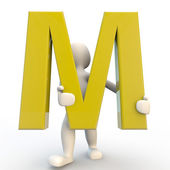 3D Human character holding yellow letter M — Stock Photo