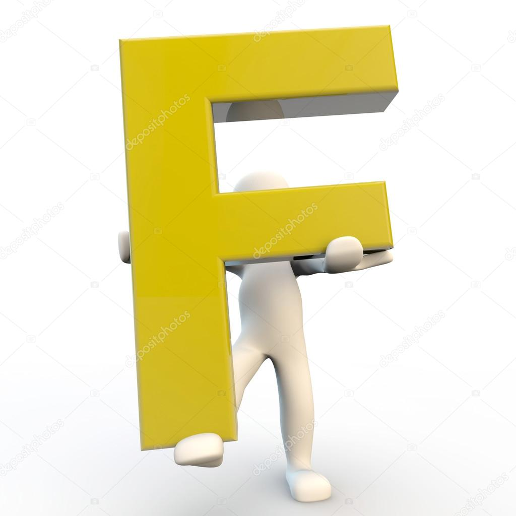 3D Human character holding yellow letter F — Stock Photo ...