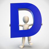 3D human character holding blue letter D — Stock Photo