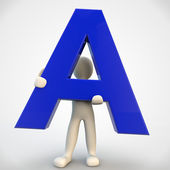 3D human character holding blue letter A — Stock Photo