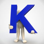 3D human character holding blue letter K — Stock Photo