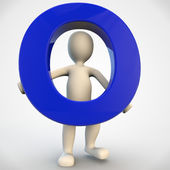 3D human character holding blue letter O — Stock Photo