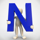 3D human character holding blue letter N — Stock Photo