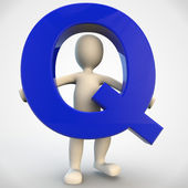 3D human character holding blue letter Q — Stock Photo
