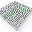 Solved maze with green arrow — Stock Photo
