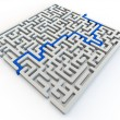 Solved maze with blue arrow — Stock Photo