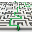 Solved maze with green arrow — Stock Photo #15131511