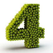 3D number four made from tennis balls — Stock Photo