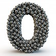 3D number zero made from football balls — Stock Photo