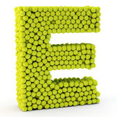 3D letter E made from tennis balls — Stock Photo