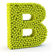 3D letter B made from tennis balls — Stock Photo