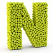 3D letter N made from tennis balls — Stock Photo #48995635