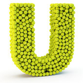3D letter U made from tennis balls — Stock Photo