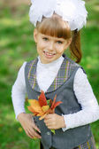 Schoolgirl first grader — Stock Photo