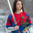 Girl knight — Stock Photo