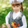 Schoolgirl first grader — Stock Photo